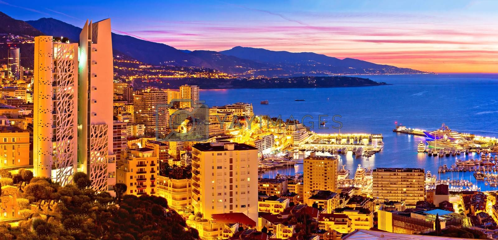 Monte Carlo cityscape colorful evening panoramic view from above, Principality of Monaco