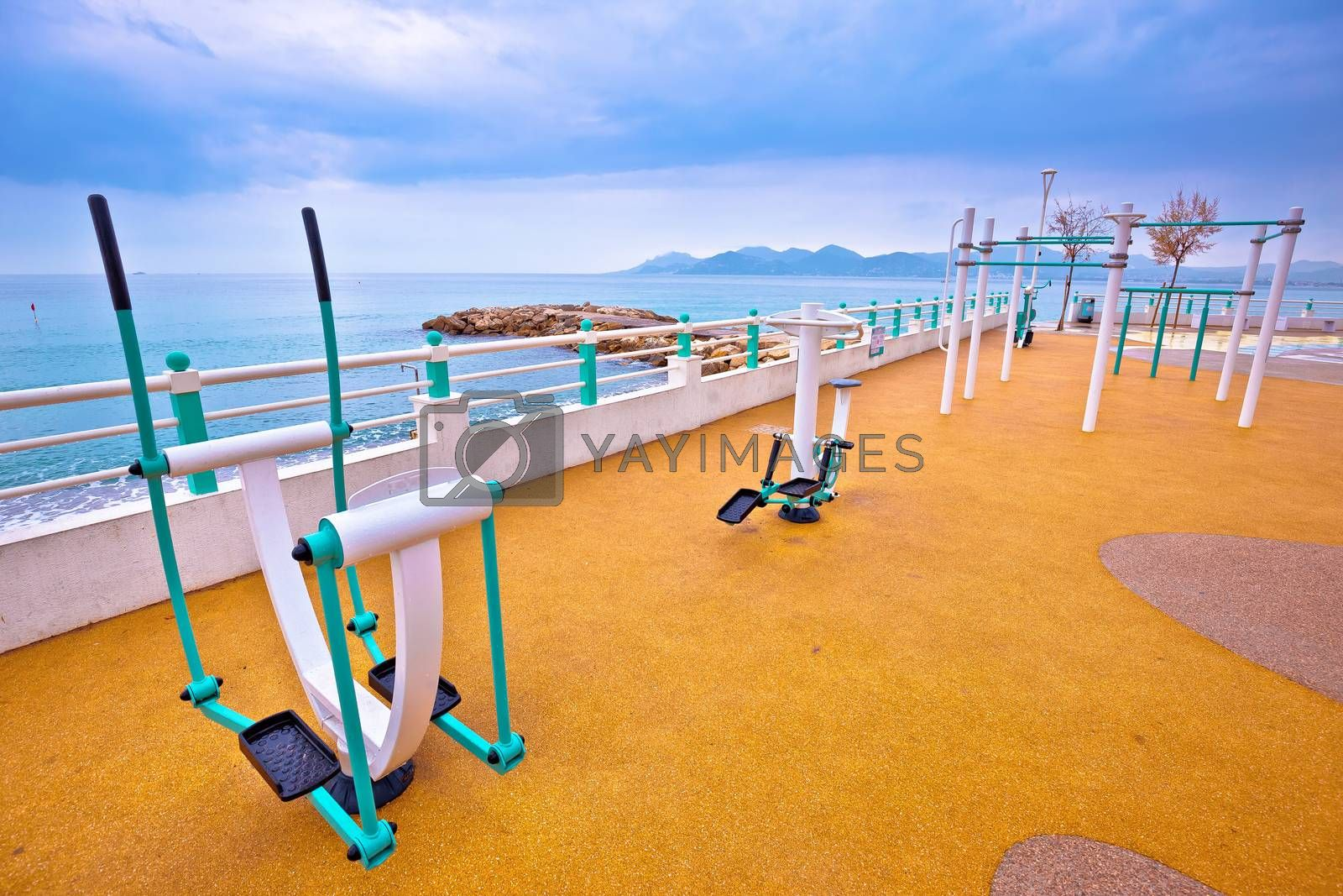 Public fitness exercise park by Mediterranean sea in Cannes view, activity on Franch riviera, Provenge region of France