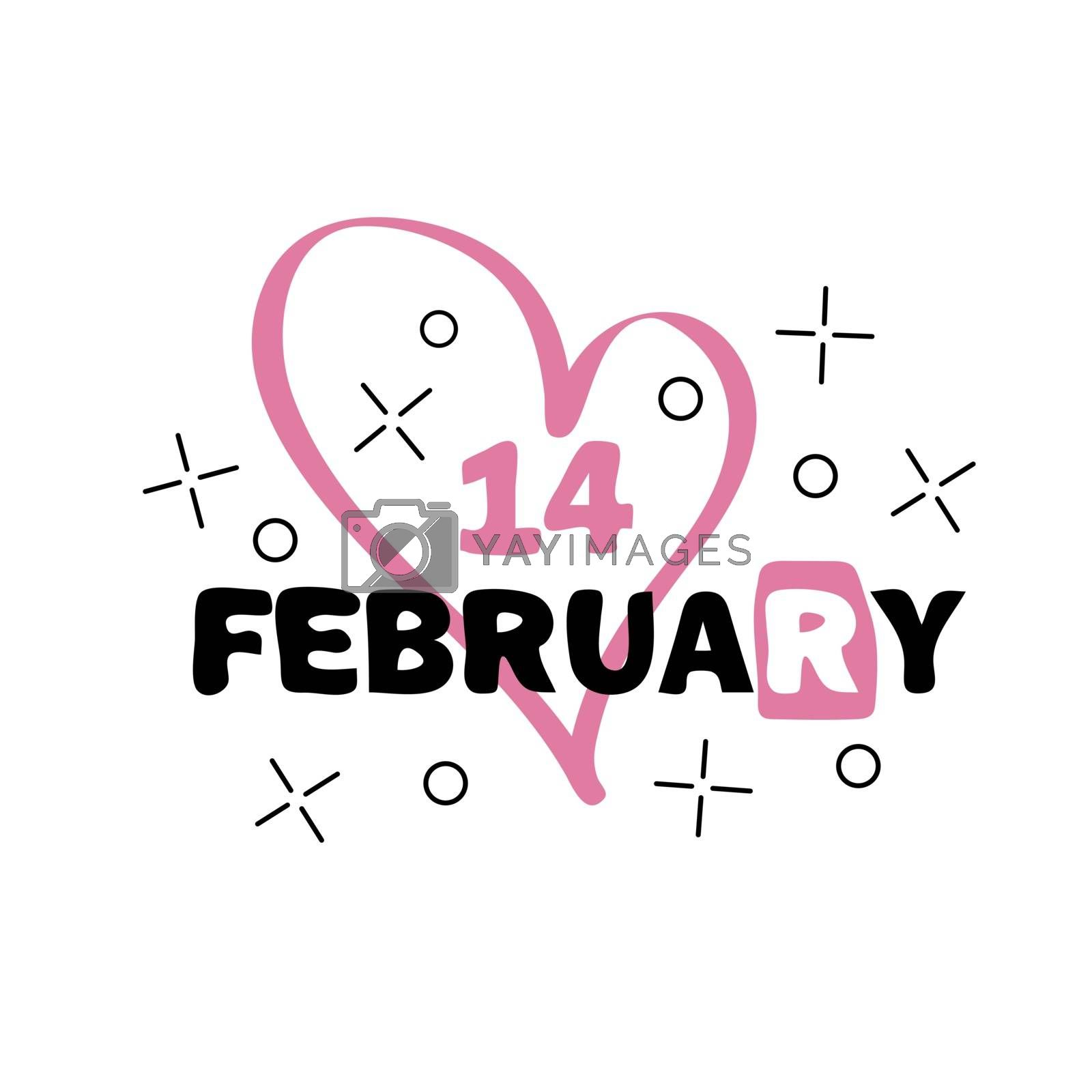 Badge 14 february. Happy Valentines Day concept. Hand drawn vector lettering by Natali Brill