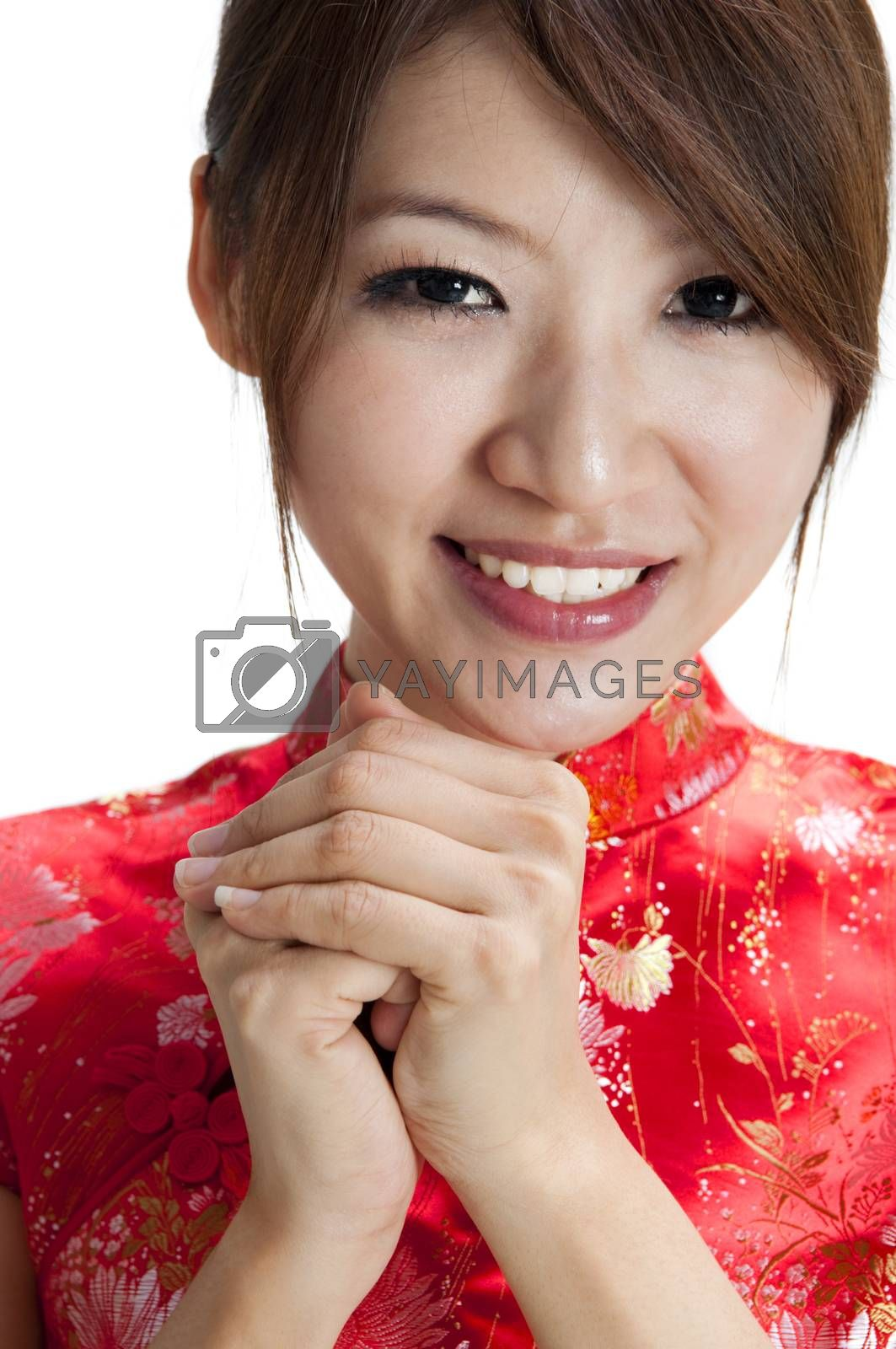 Oriental girl giving greeting for Chinese new year