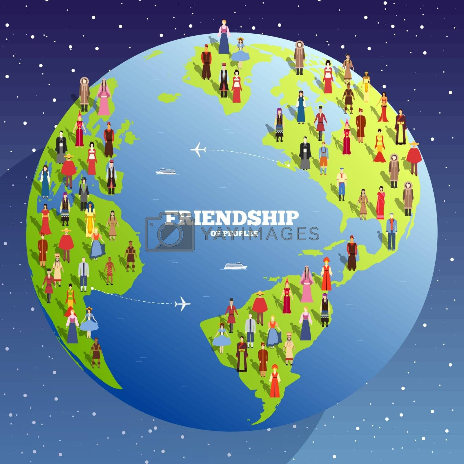 People Friendship. International Day of the World Indigenous Peoples. Vector flat circle concept illustration concept background.