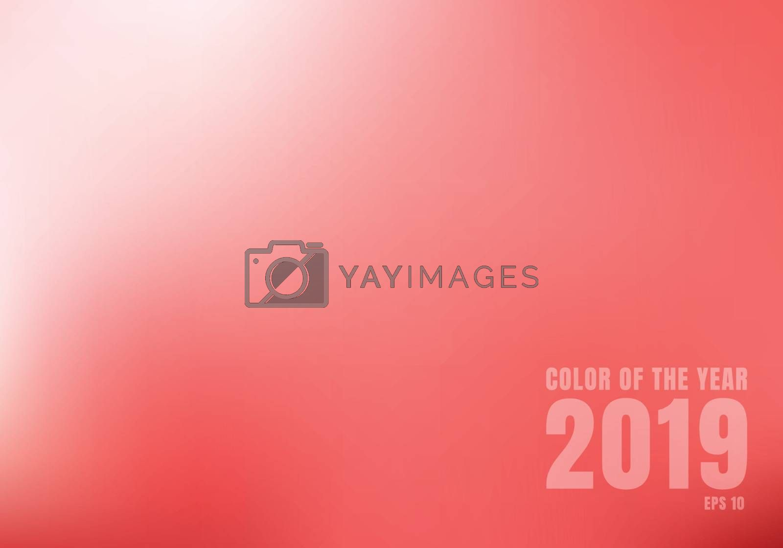 Abstract red blurred background with light. Trend color living coral 2019. Vector illustration