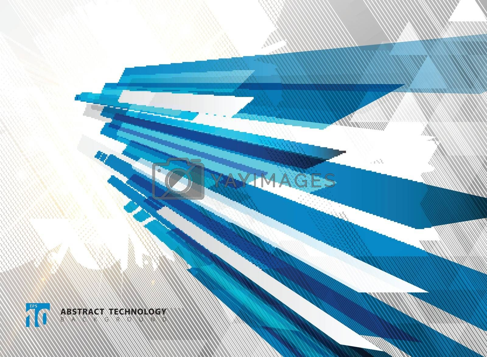 Abstract perspective technology geometric blue color shiny motion background and lines texture with lighting burst effect.  for brochure, print, ad, magazine, poster, website, magazine, leaflet, annual report. Vector corporate design