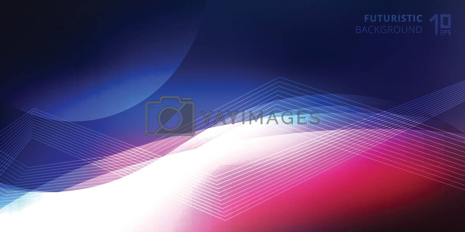Abstract smooth neon glowing light lines wave futuristic background technology style. Vector illustration