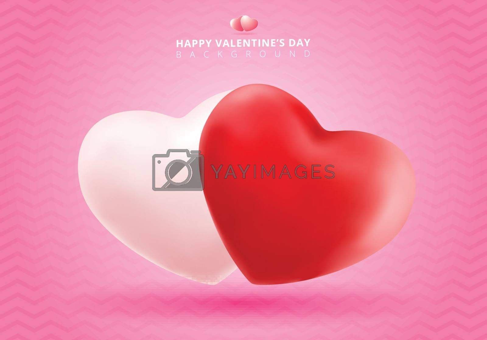 Soft and smooth red and white valentines hearts on pink Backgrou by phochi