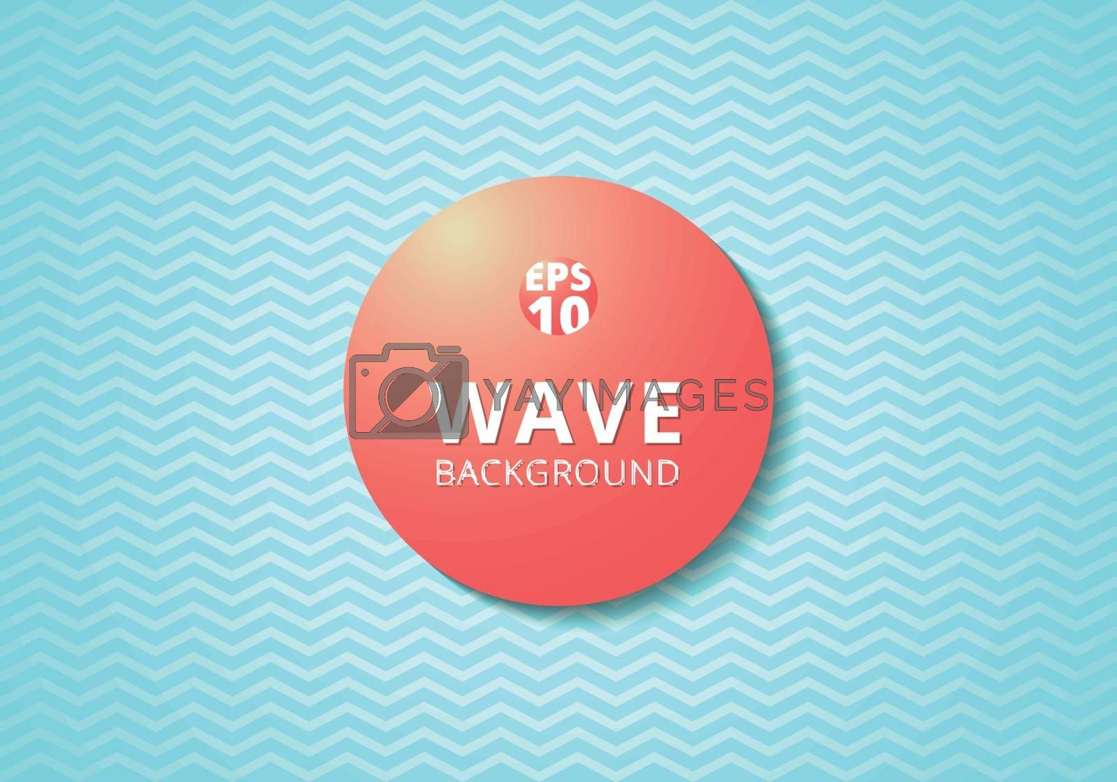 Wave blue lines pattern background and Red 3D label circle. Zig zag, chevron. Vector illustration