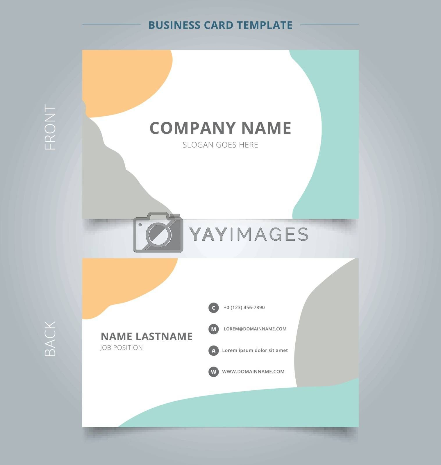 Trendy abstract business name card template layout modern style. Brush pastels color element. Vector illustration