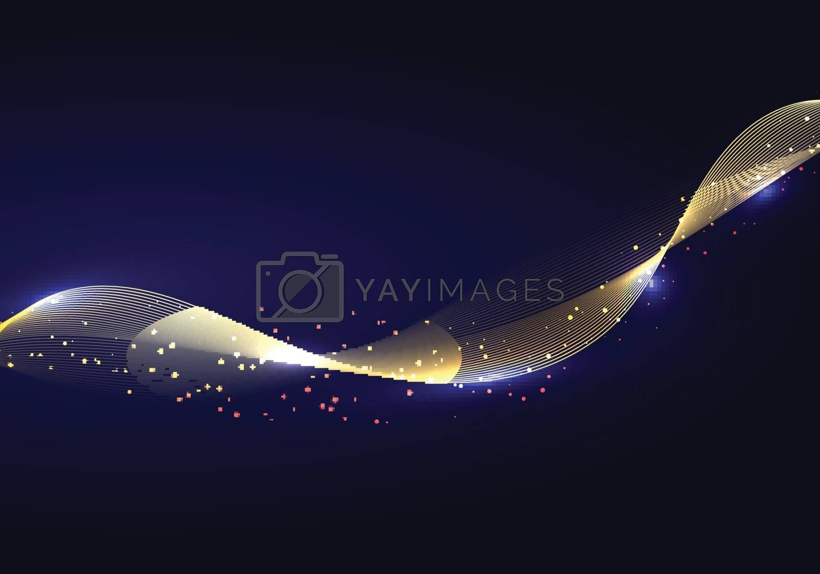 Abstract shiny color gold wave design element and glitter effect on dark background. Vector illustration