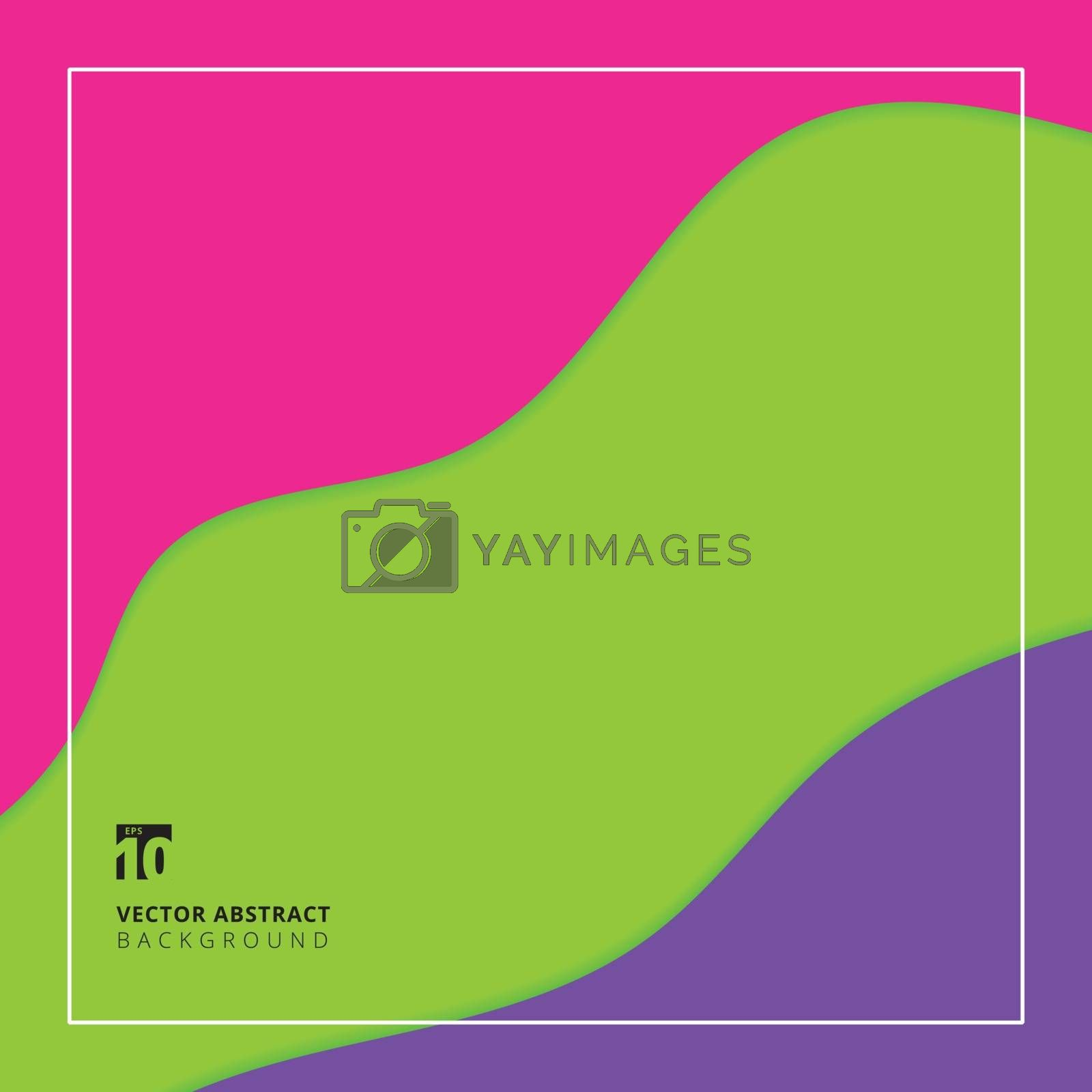 Abstract paper cut wave layer green, purple and pink color backg by phochi