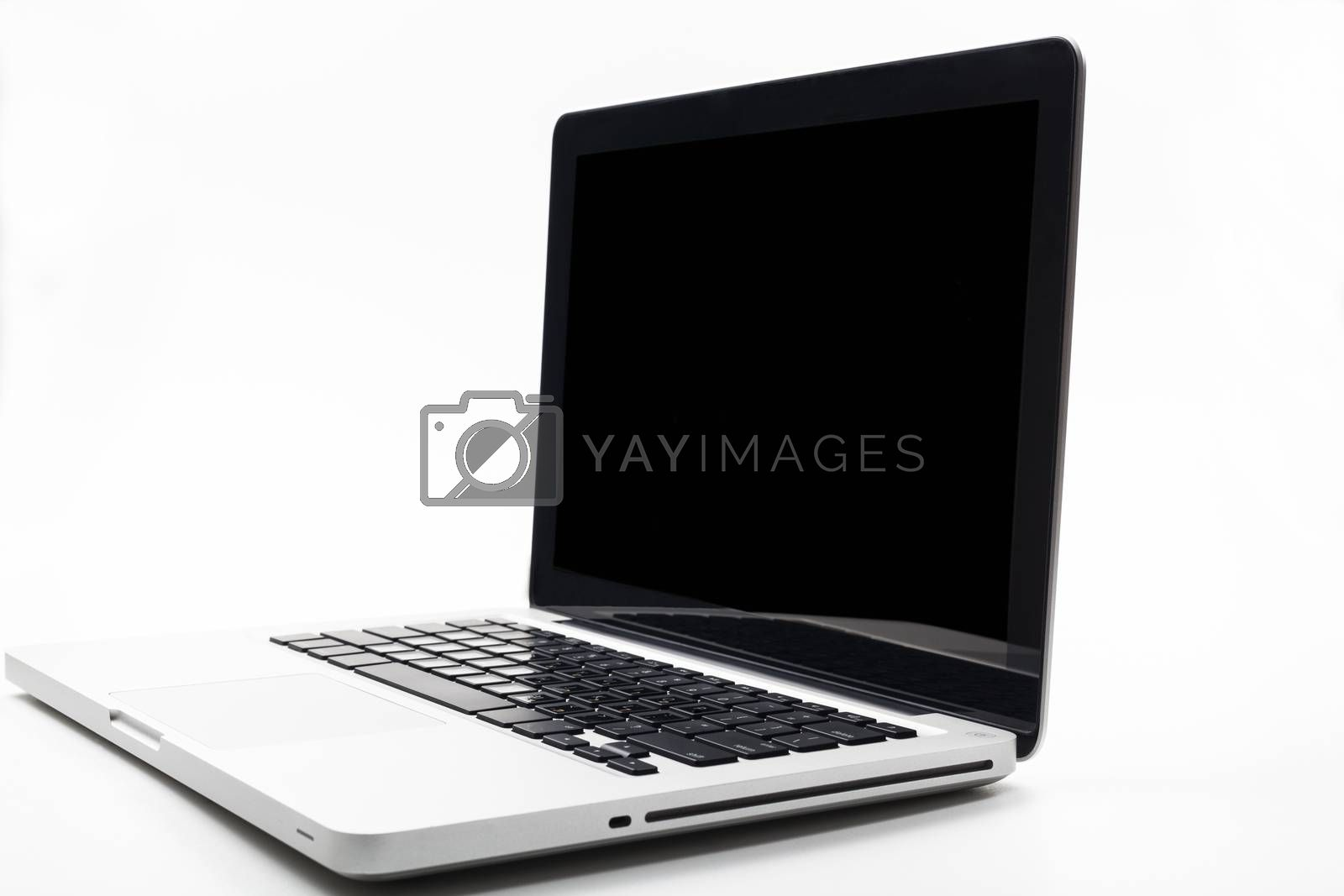 Silver laptop with keyboard reflection on the screen side view isolated on white