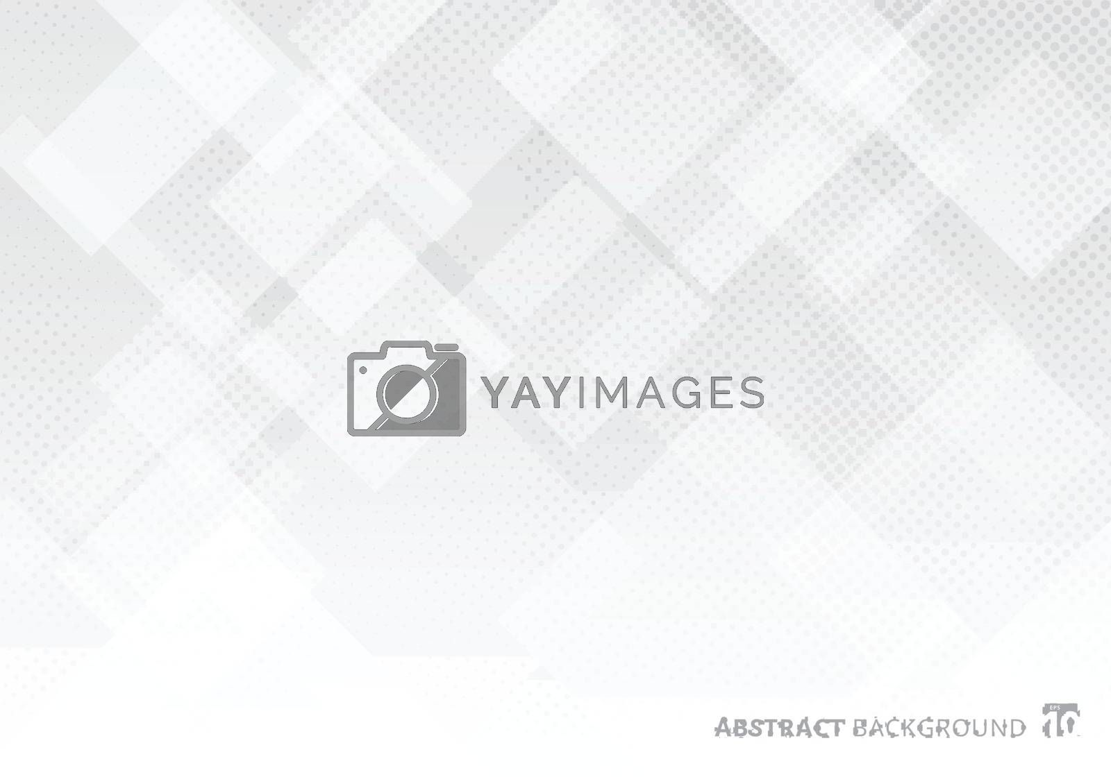 Abstract elegant squares shapes pattern overlay layer geometric white and gray gradient color background with halftone texture. Vector illustration