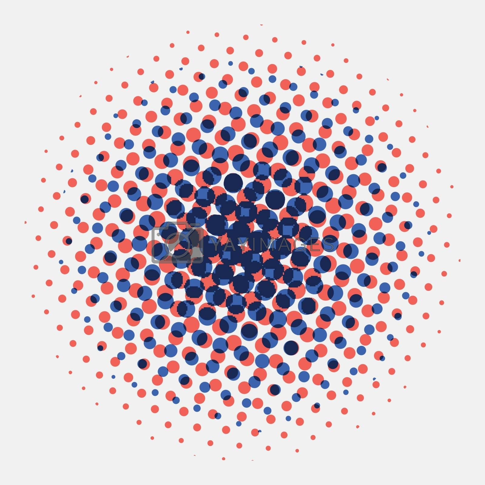 Royalty free image of Abstract spotted halftone circles radial blue and orange color o by phochi