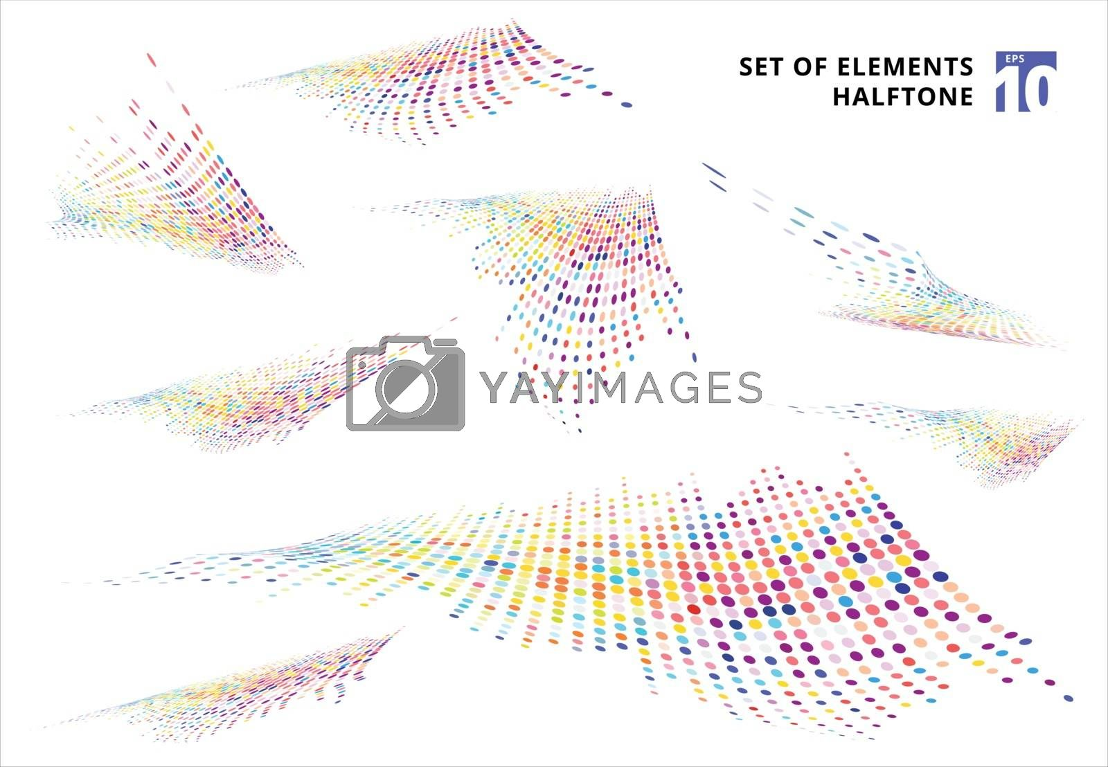 Set of abstract colorful halftone texture distortion wave dots pattern perspective isolated on white background. vector illustration