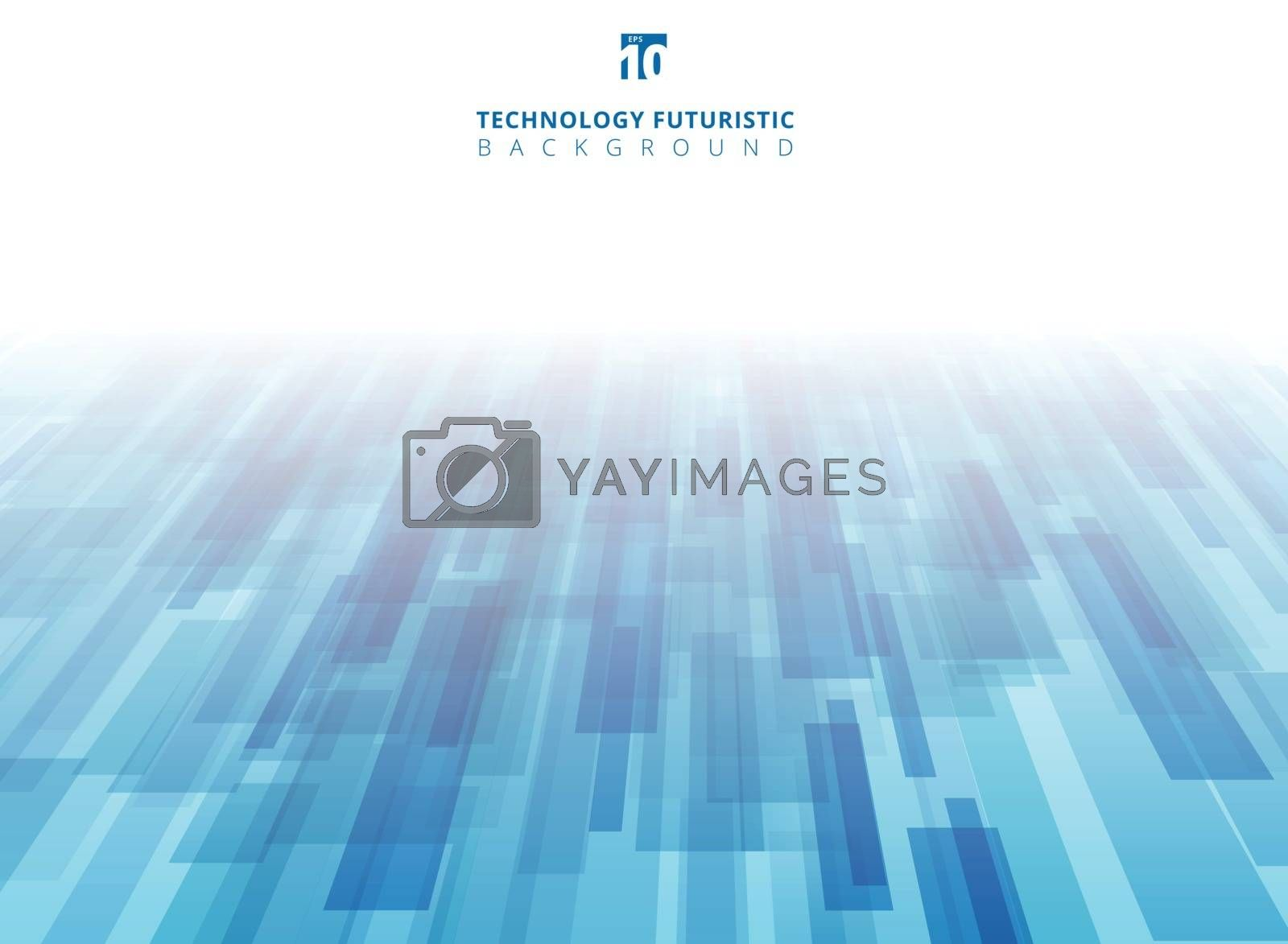 Abstract technology diagonally overlapped geometric squares shape perspective blue color background with copy space. Vector graphic illustration