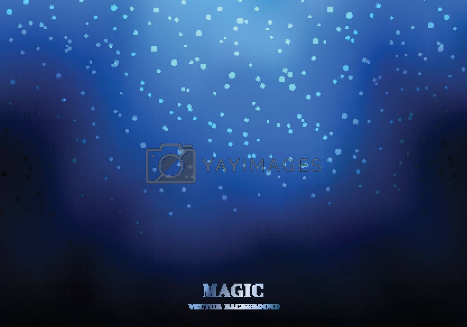 Magic night blue sky background with sparkling glitter. Wedding card template. Vector illustration