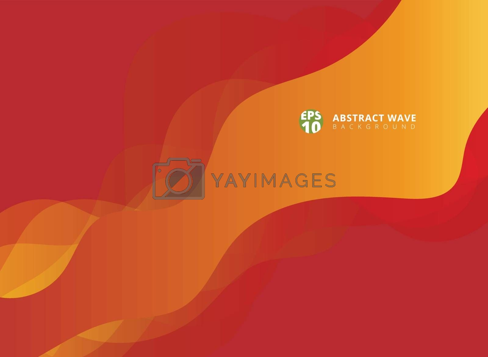 Abstract modern red waves overlap on yellow background with copy space. Vector illustration