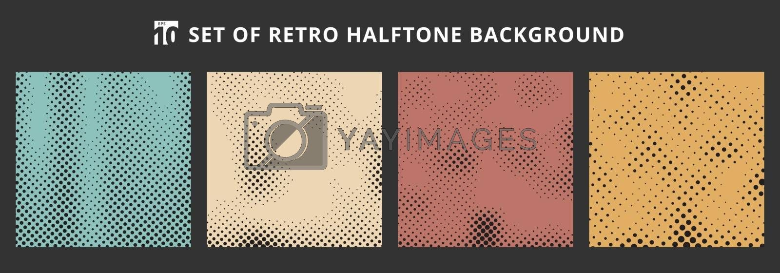 Set of halftone retro backgrounds. Abstract dotted pattern grunge textures. Vector illustration