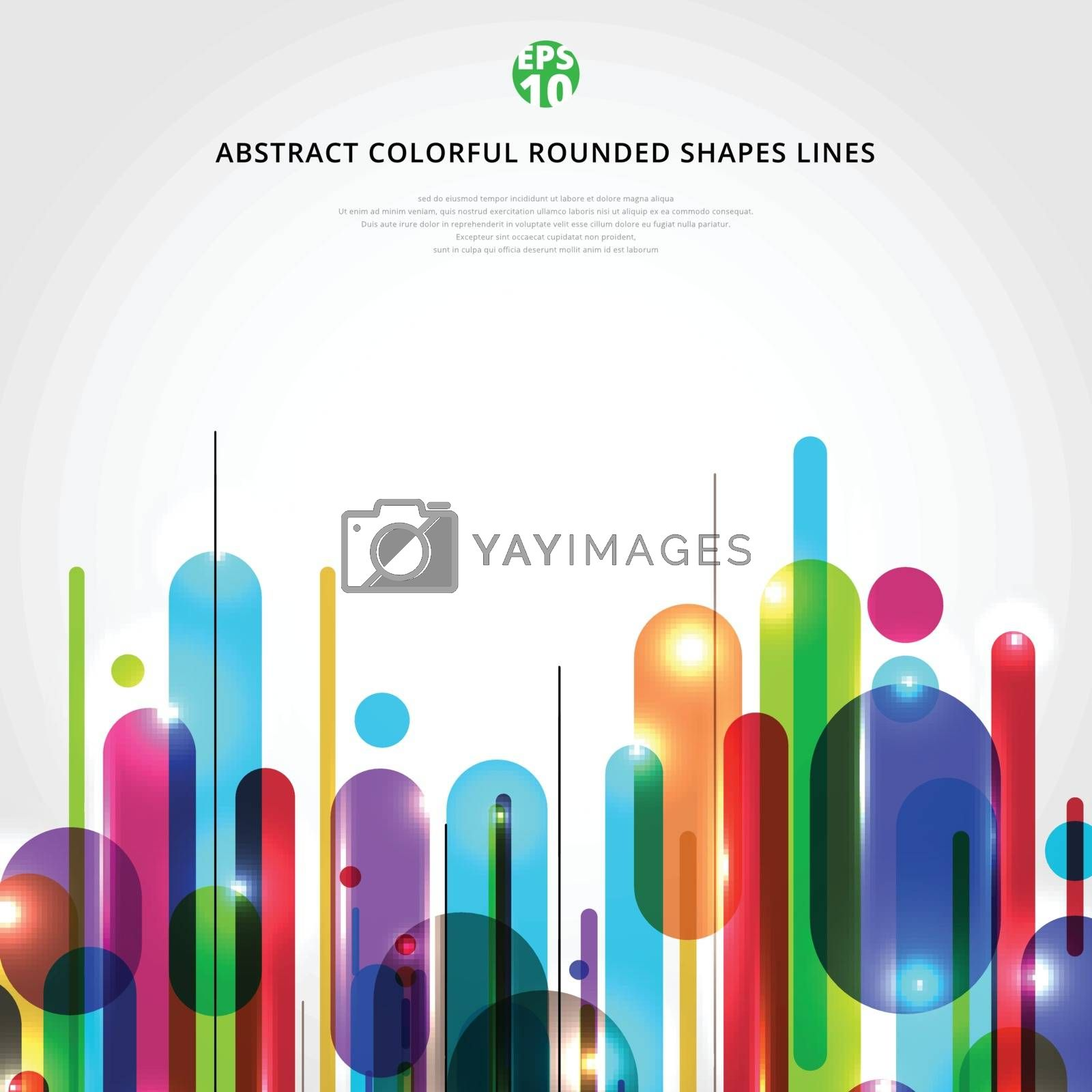 Abstract dynamic composition made of various colorful rounded sh by phochi