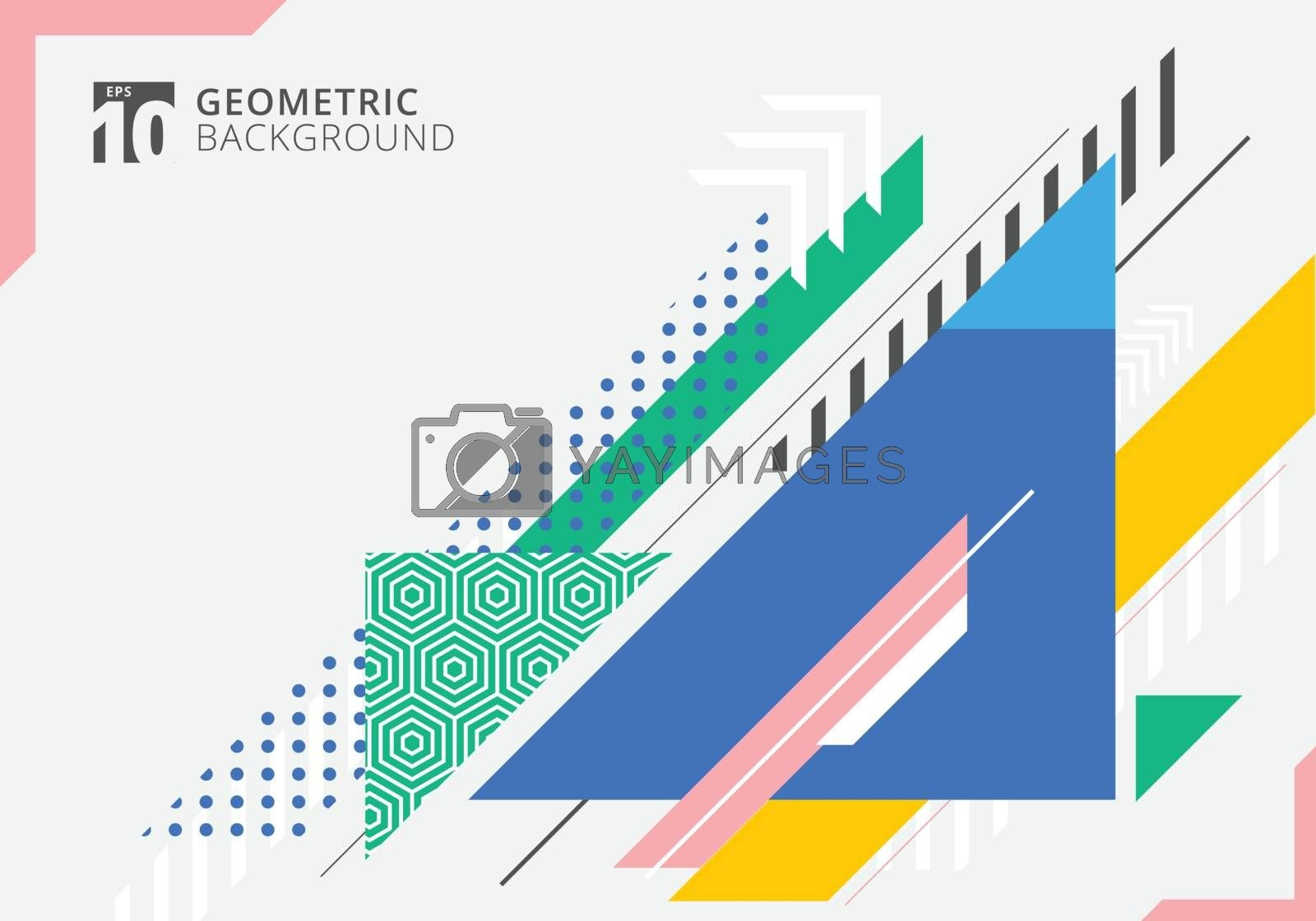 Abstract colorful geometric triangles shape with texture on gray background. Modern template futuristic design. Vector illustration