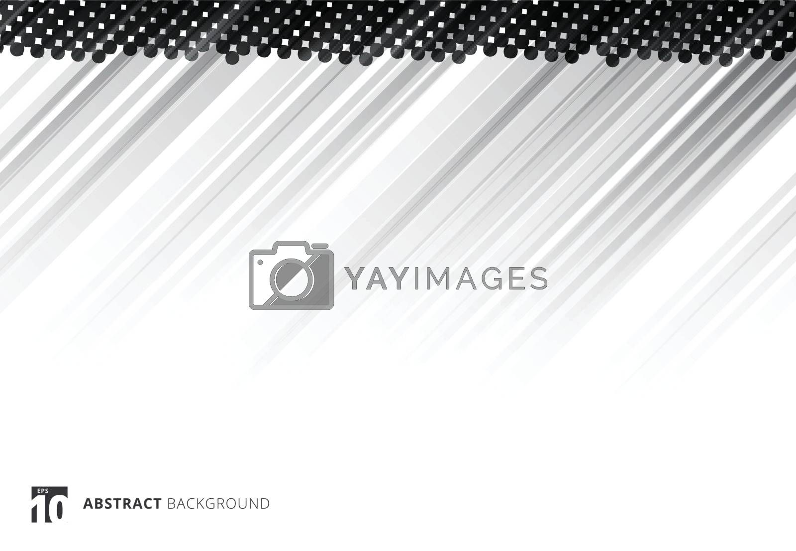Black abstract diagonal lines background technology with halftone on white background. Vector illustration