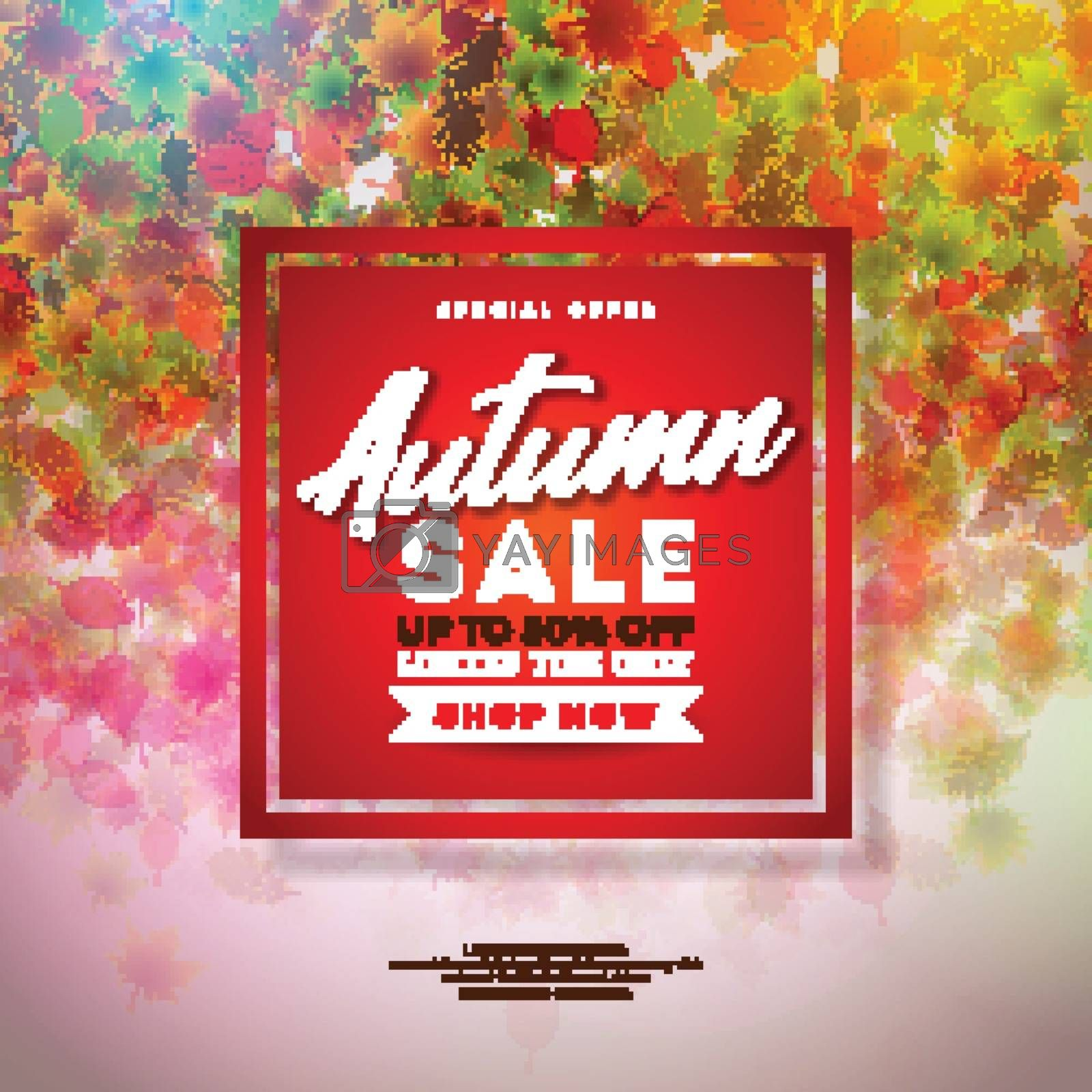 Autumn Sale Design with Colorful Falling Leaves and Lettering on Red Background. Autumnal Vector Illustration with Special Offer Typography Elements for Coupon, Voucher, Banner, Flyer, Promotional Poster or Greeting Card