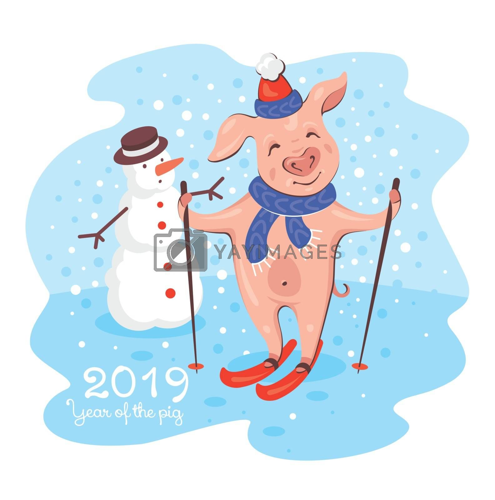 2019 New Year greeting card with pig and snowman. Cute happy young pig skiing with a smile in a snowy day. Vector illustration.