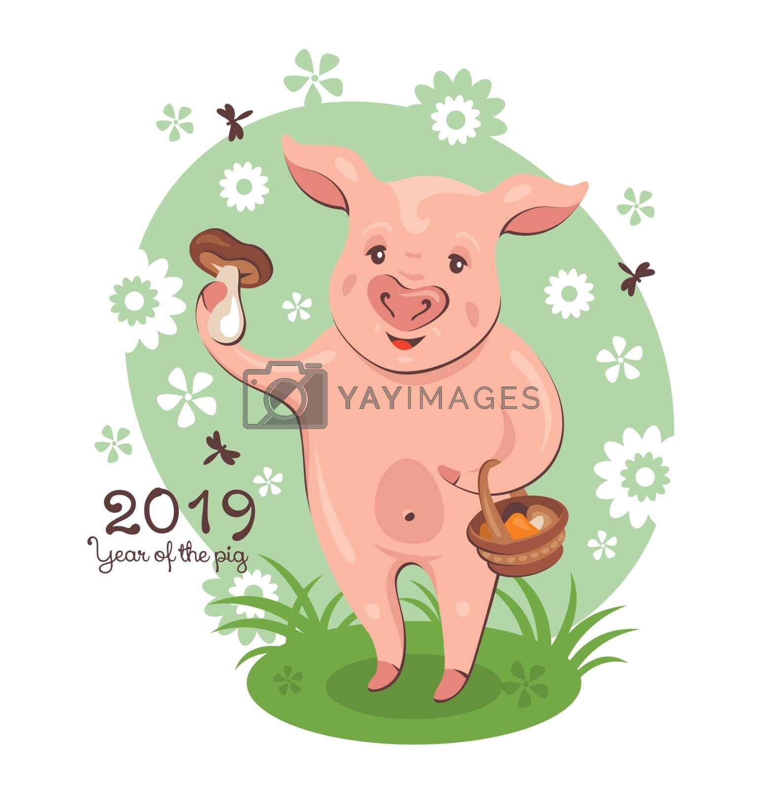 2019 New Year greeting card with cute pig, which holds a basket of edible mushrooms. Vector illustration.