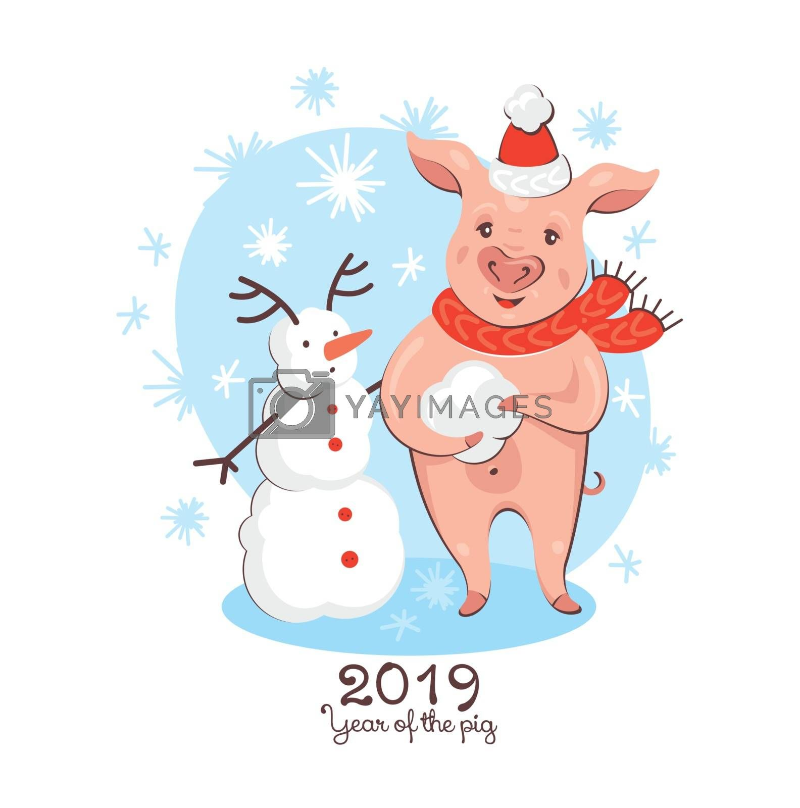 2019 New Year greeting card with pig and snowman. Year of the pig. Vector illustration.