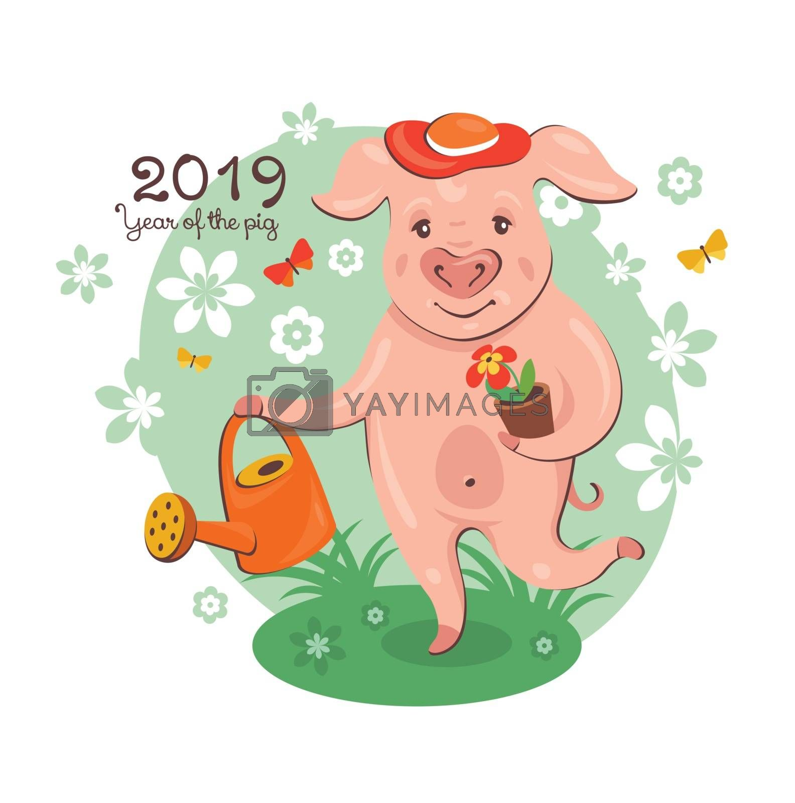 2019 New Year greeting card with a cute pig gardener. Vector illustration.