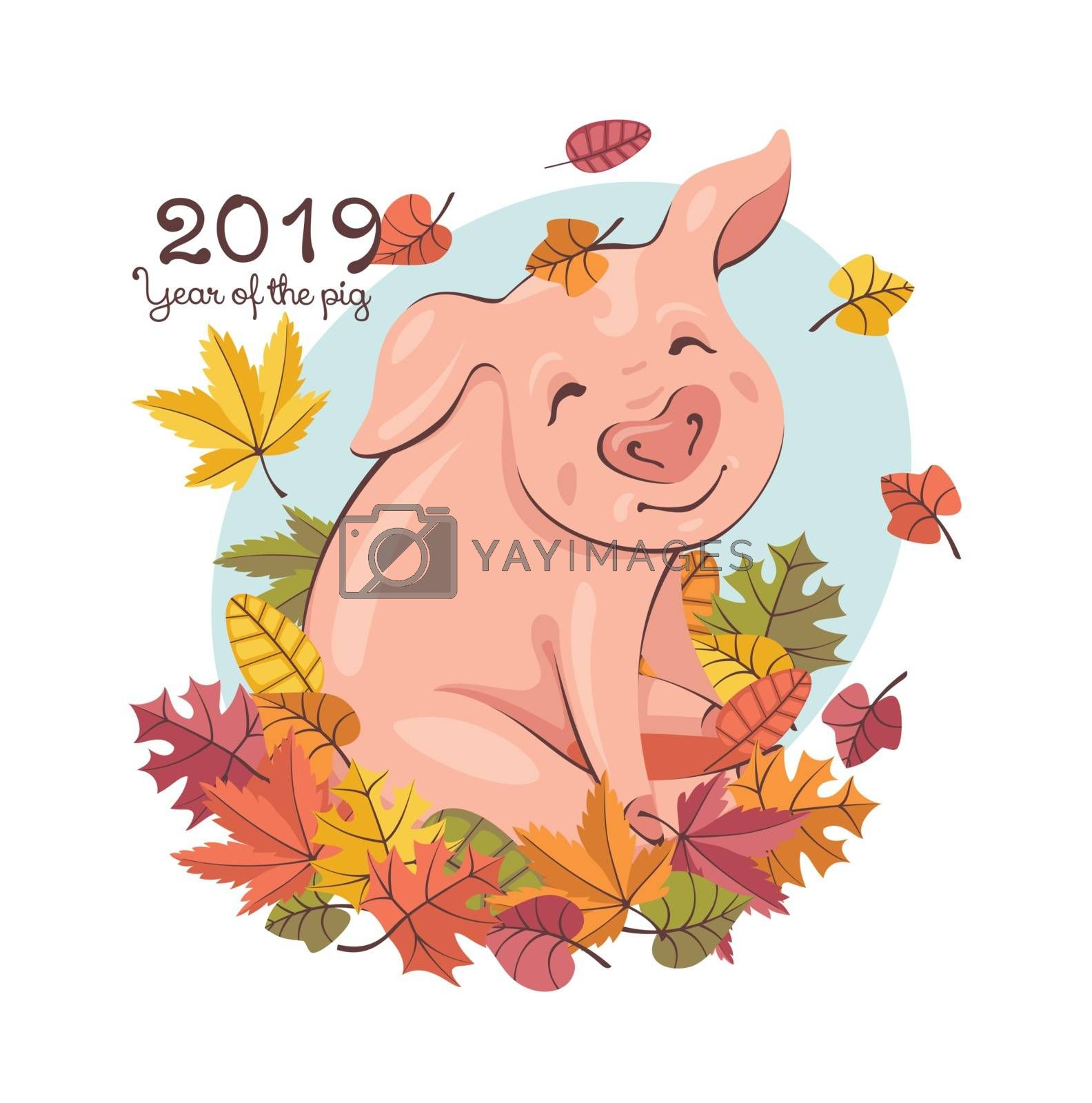 2019 New Year greeting card with a happy cute pig playing with the falling leaves. Vector illustration.