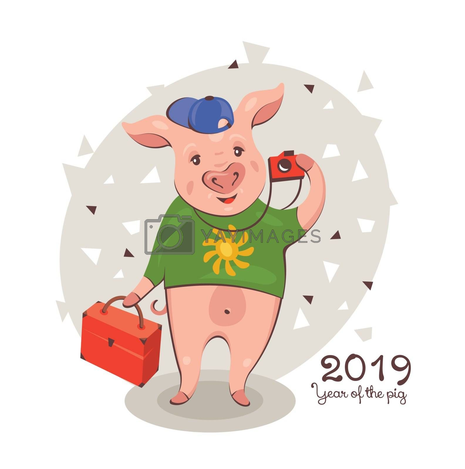 2019 New Year greeting card with a happy cute traveling pig. Vector illustration.