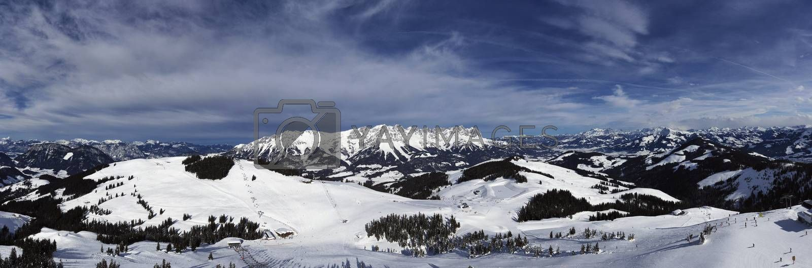 panorama of wilder kaiser in austria