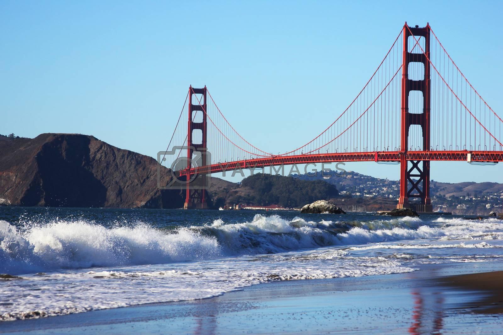 Baker Beach underneath the Golden Gate Bridge in San Francisco. California