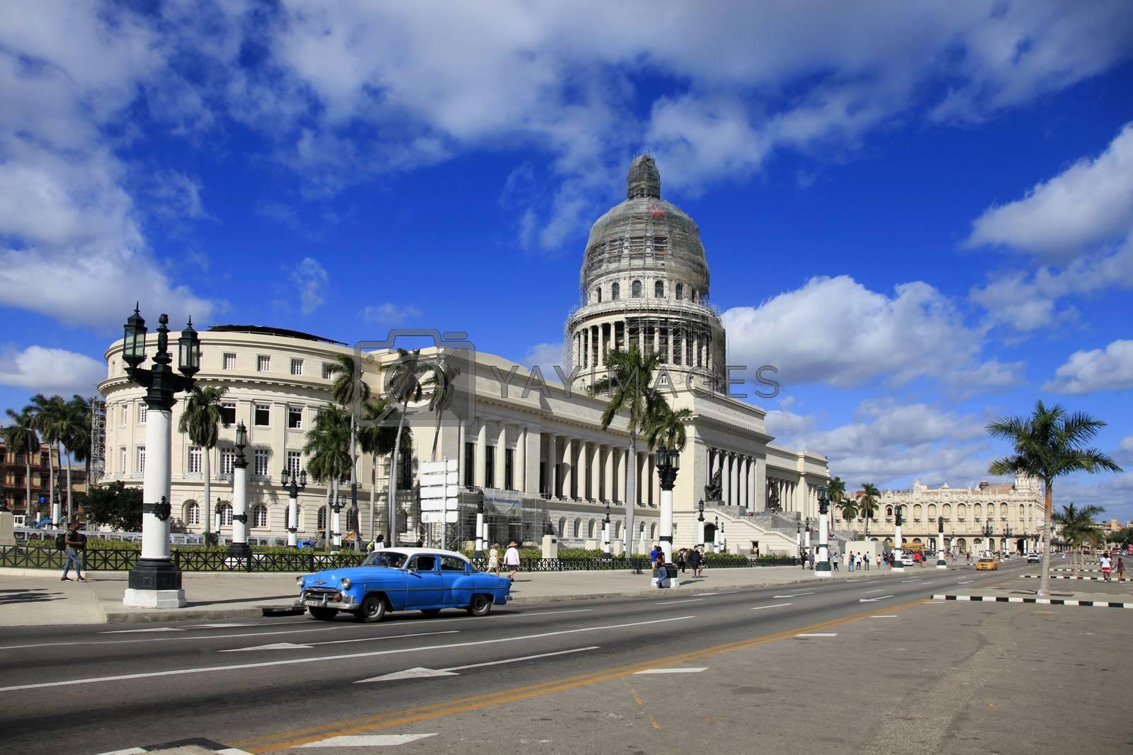 Havana, Сuba - January 10, 2019: Avenue in front of the Capitol of Old Havana. Cuba