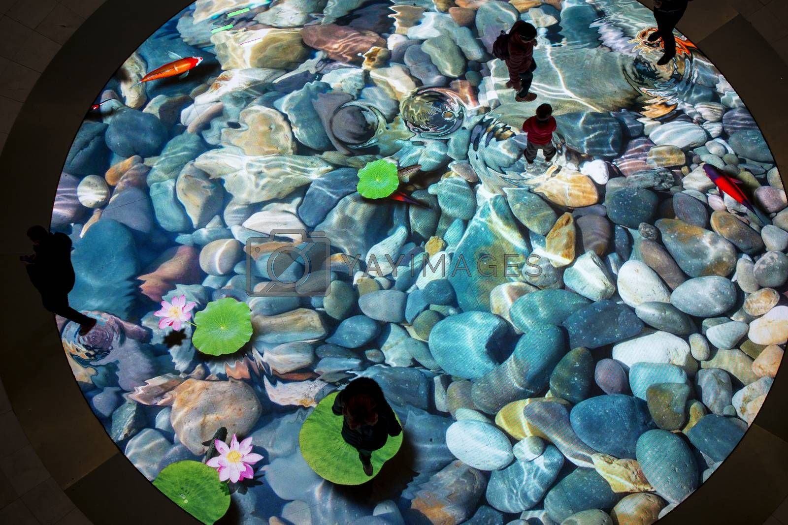 The large screen of augmented reality is felt on the floor. Digital Light Canvas, people with their children have fun on screen with a picture of the river bottom with beautiful stones and fish that swim away when you step on them.