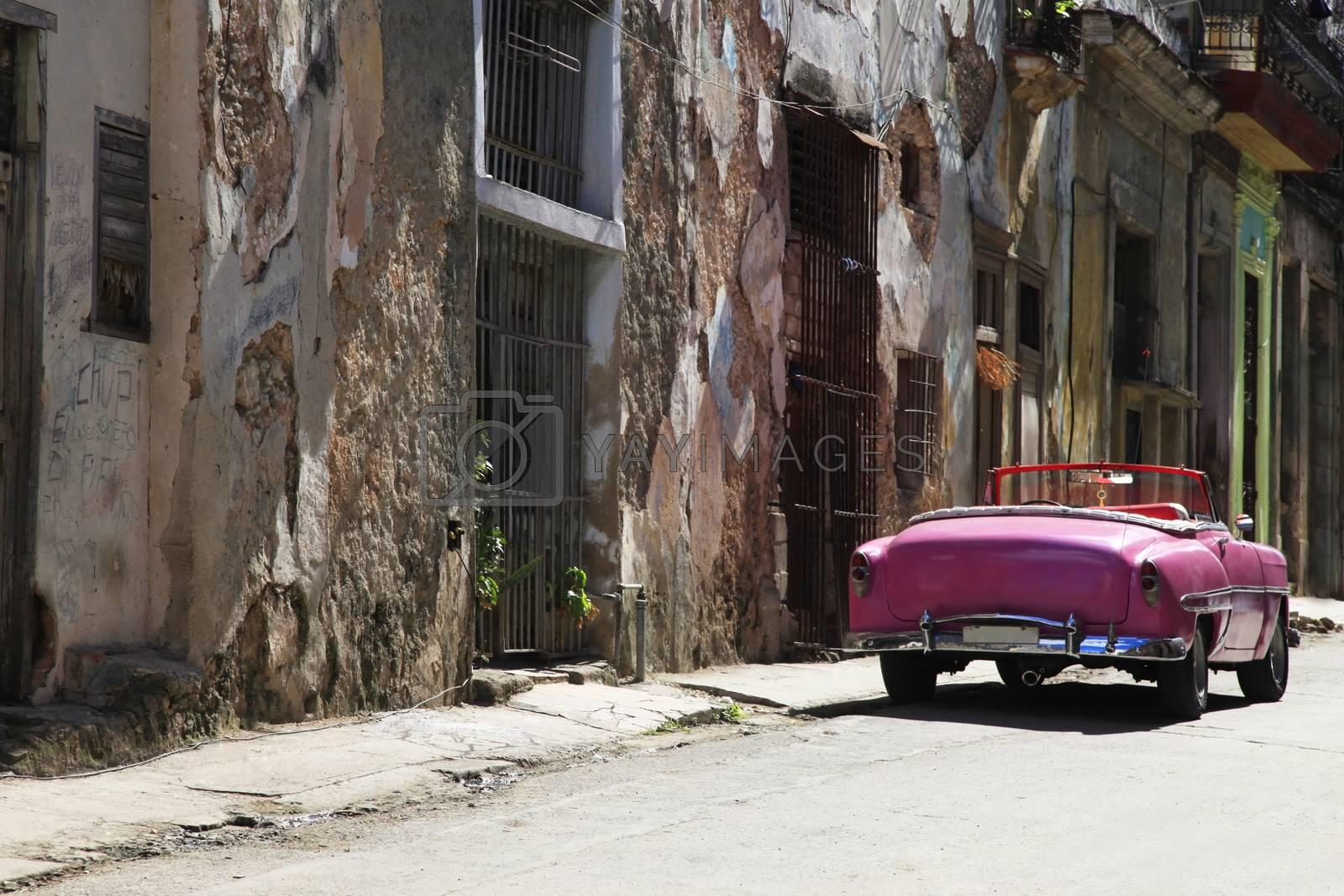 Vintage classic oldtimer car in old town of Havana, Cuba
