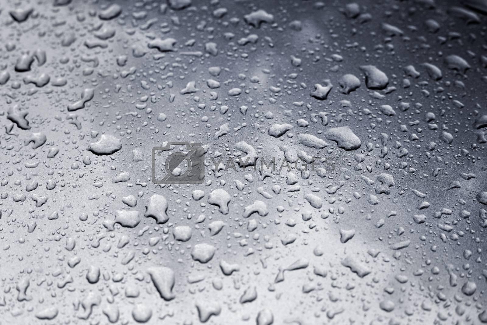 Wet metal. Drops of water. Water texture