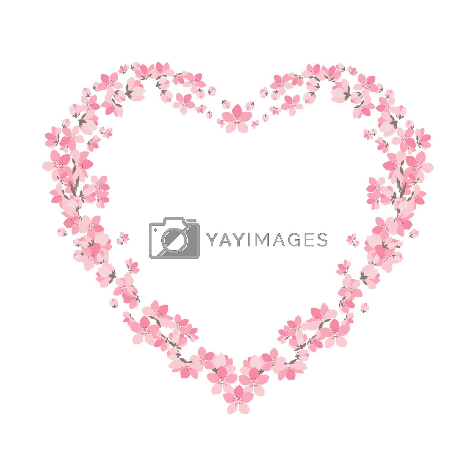 Vector illustration of a flower shaped heart. Flower decoration of sakura