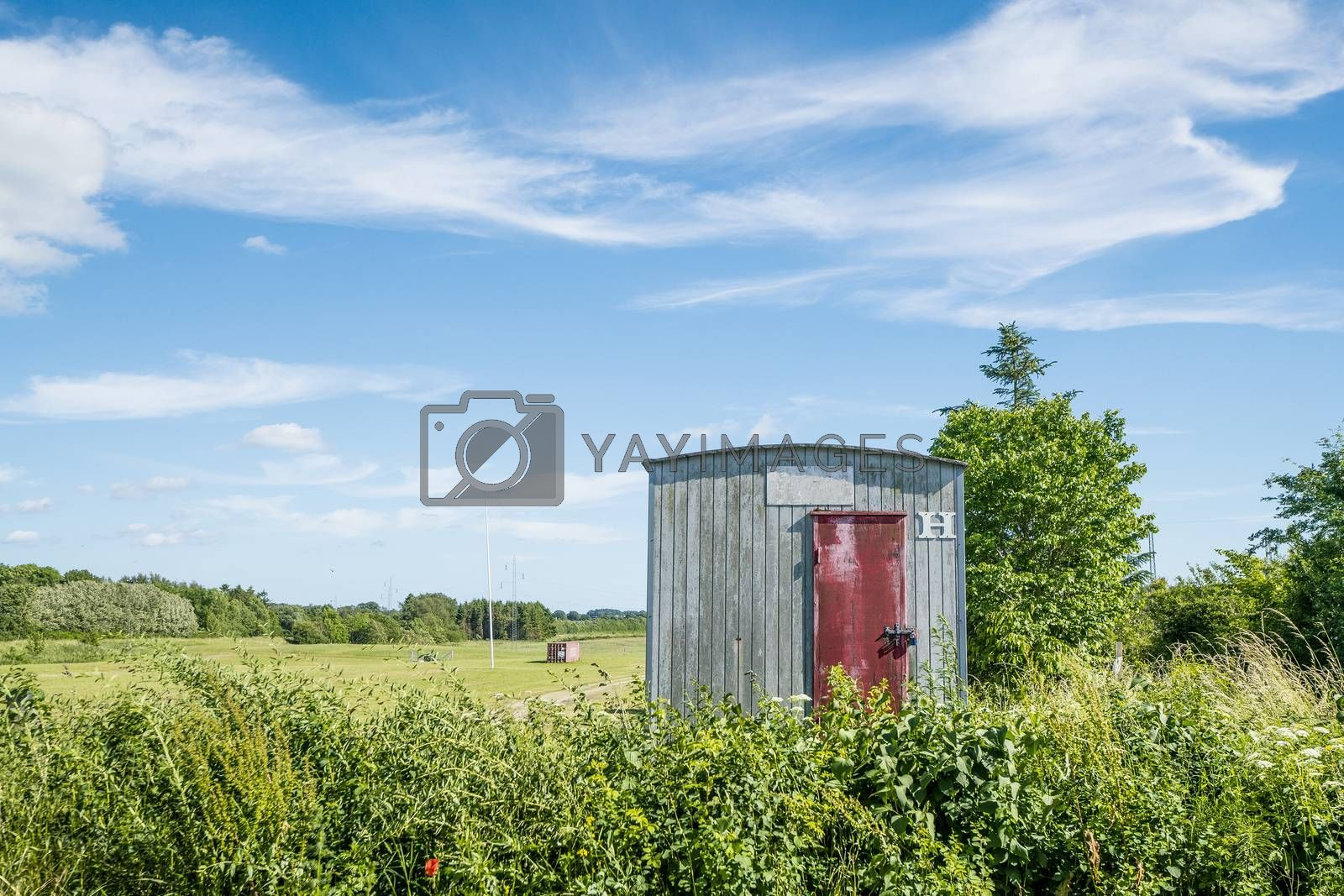Wooden shed on a rural field in a countryside with green fields and plants