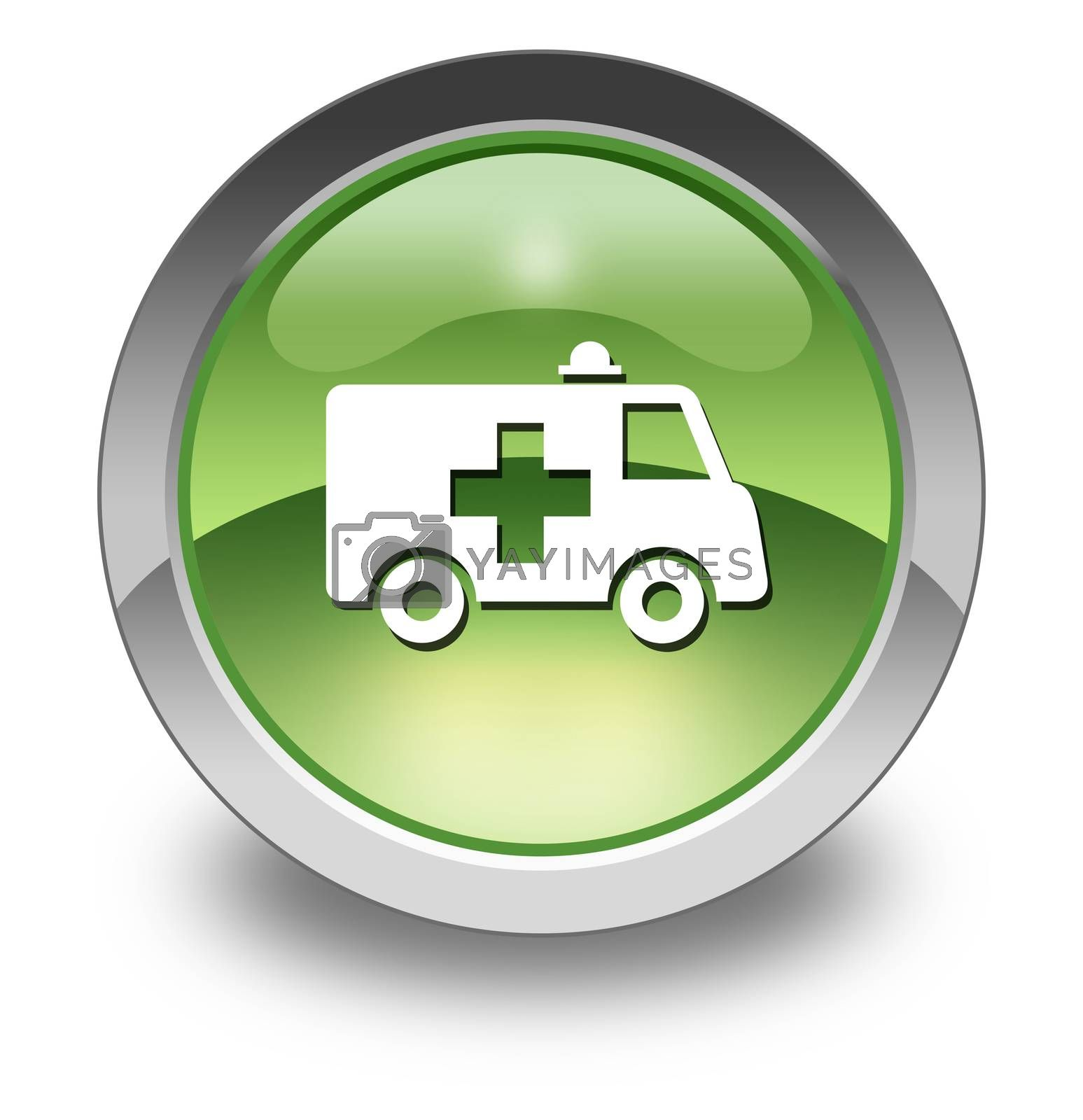 Icon, Button, Pictogram with Ambulance symbol