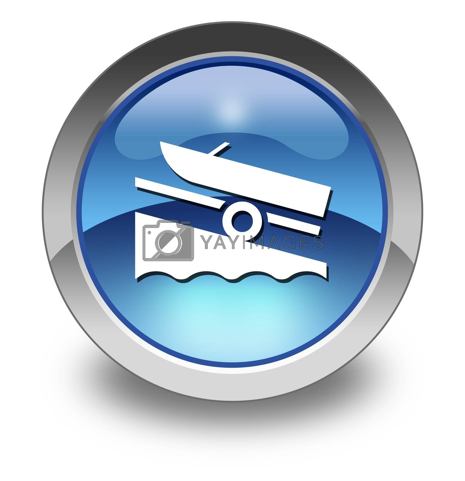 Icon, Button, Pictogram with Boat Ramp symbol