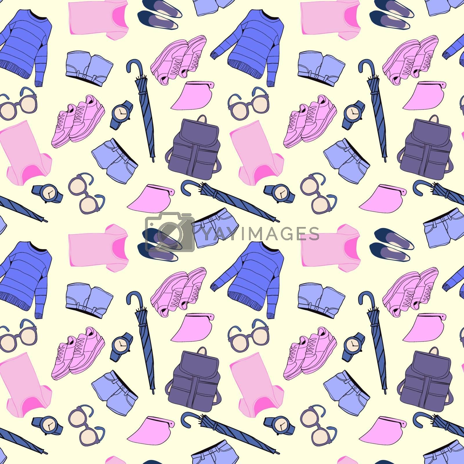 Background of summer outfit collection. Vector of hand drawn fashion clothes and accessories pattern illustration