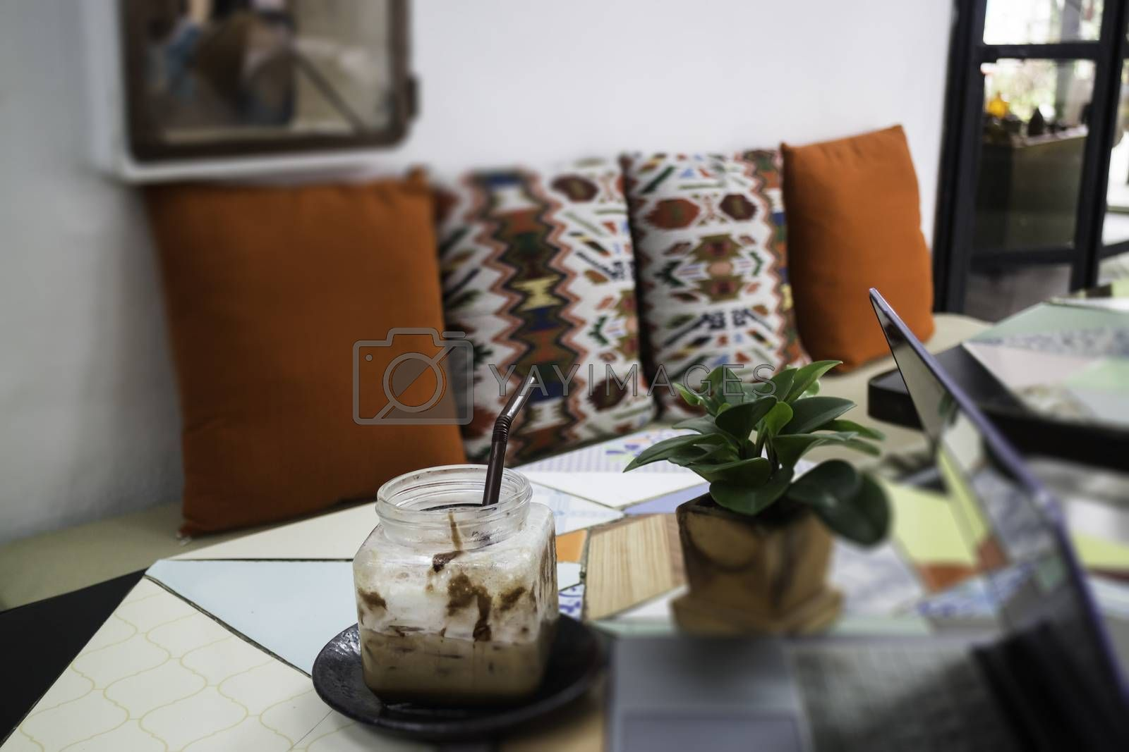 Indy interior design in street cafe, stock photo
