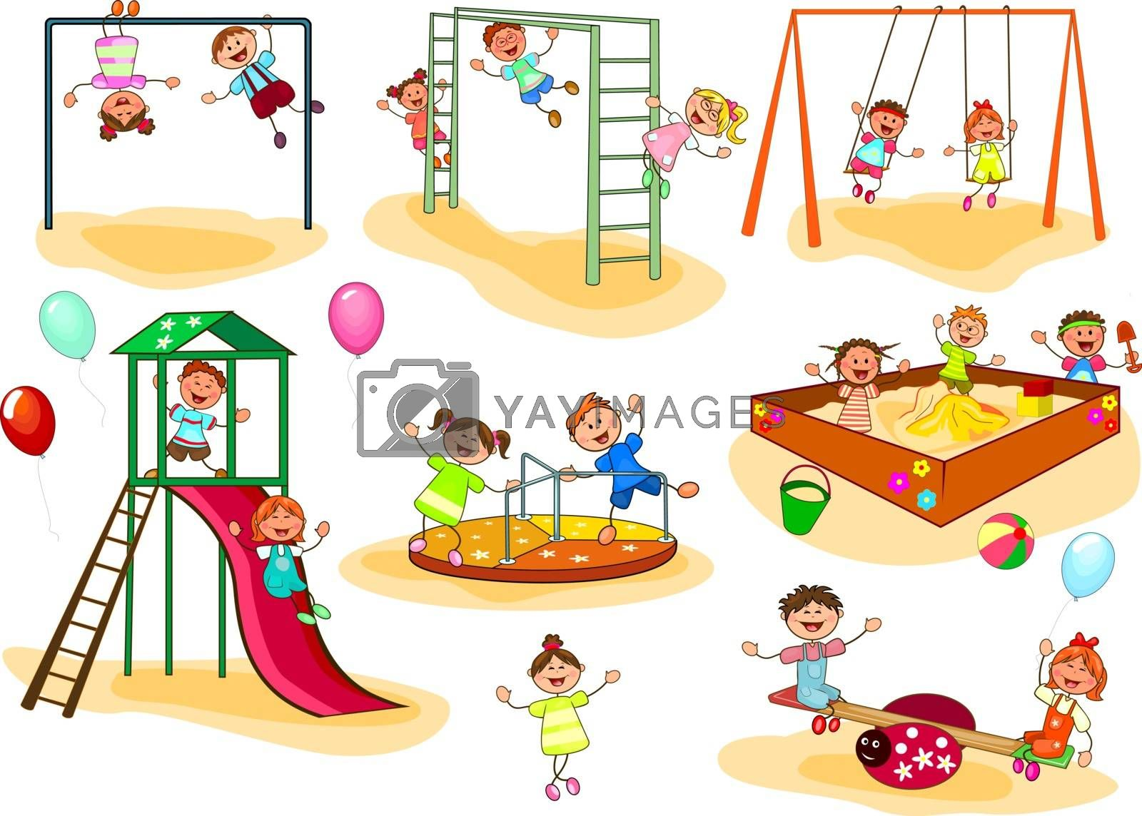 Happy kids play on the playground. Joyful little children. A group of happy, smiling children.