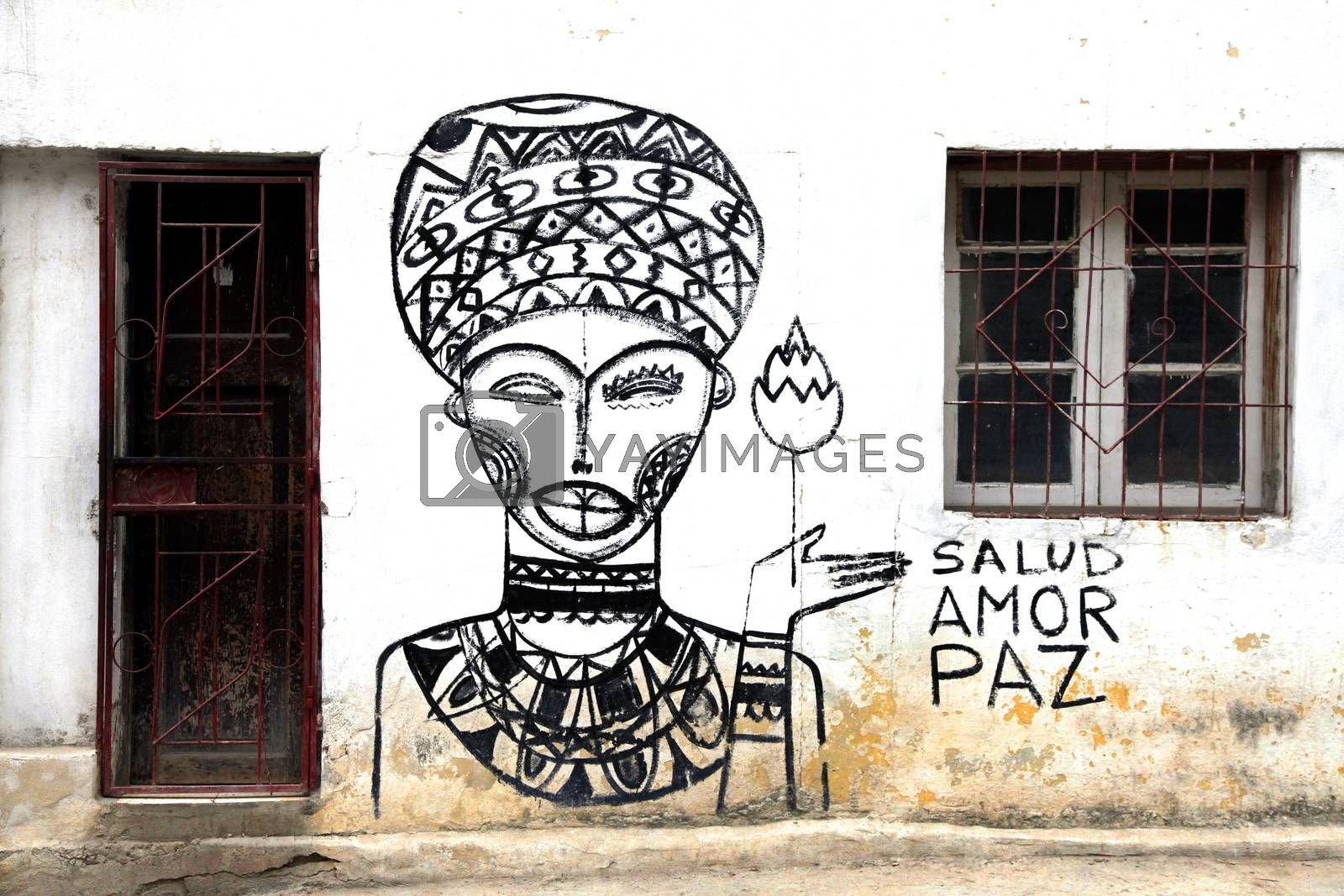 Royalty free image of Graffiti on the wall of a building in Havana by friday