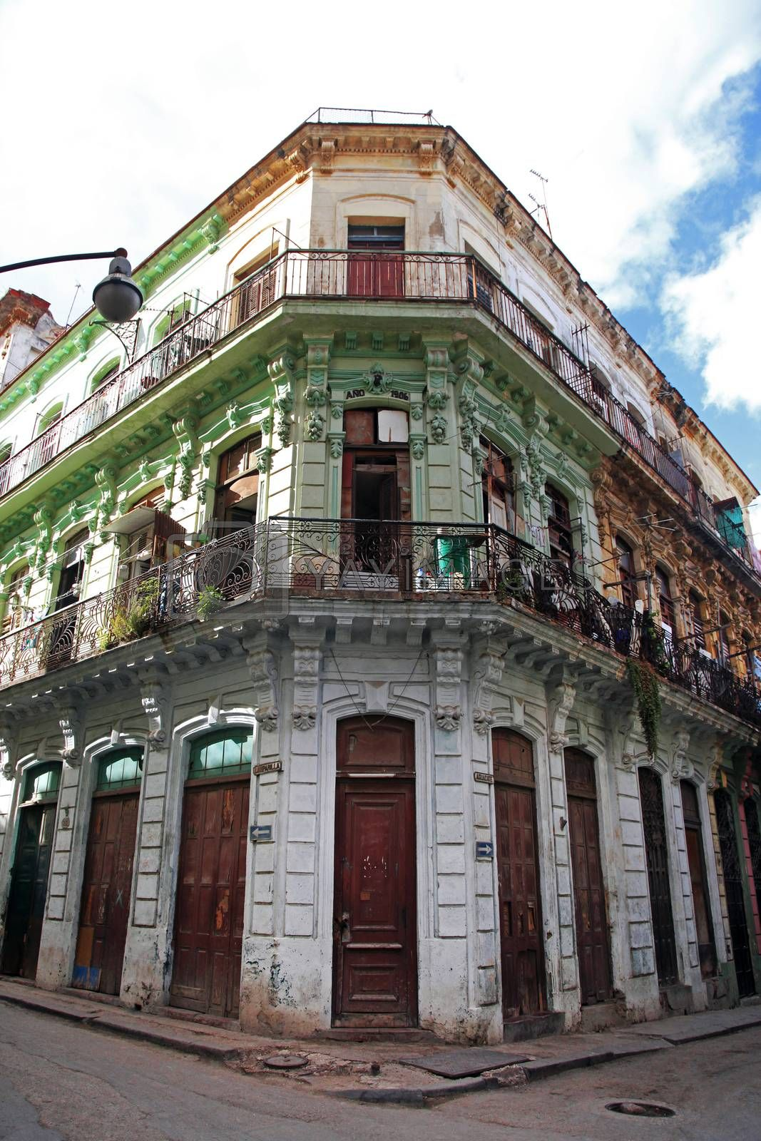 Beautiful facade of a 1906 building on Lamparilla street in the old Havana
