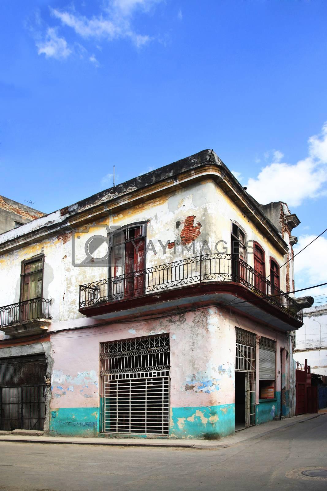 facade of an old building in Old Havana, Cuba