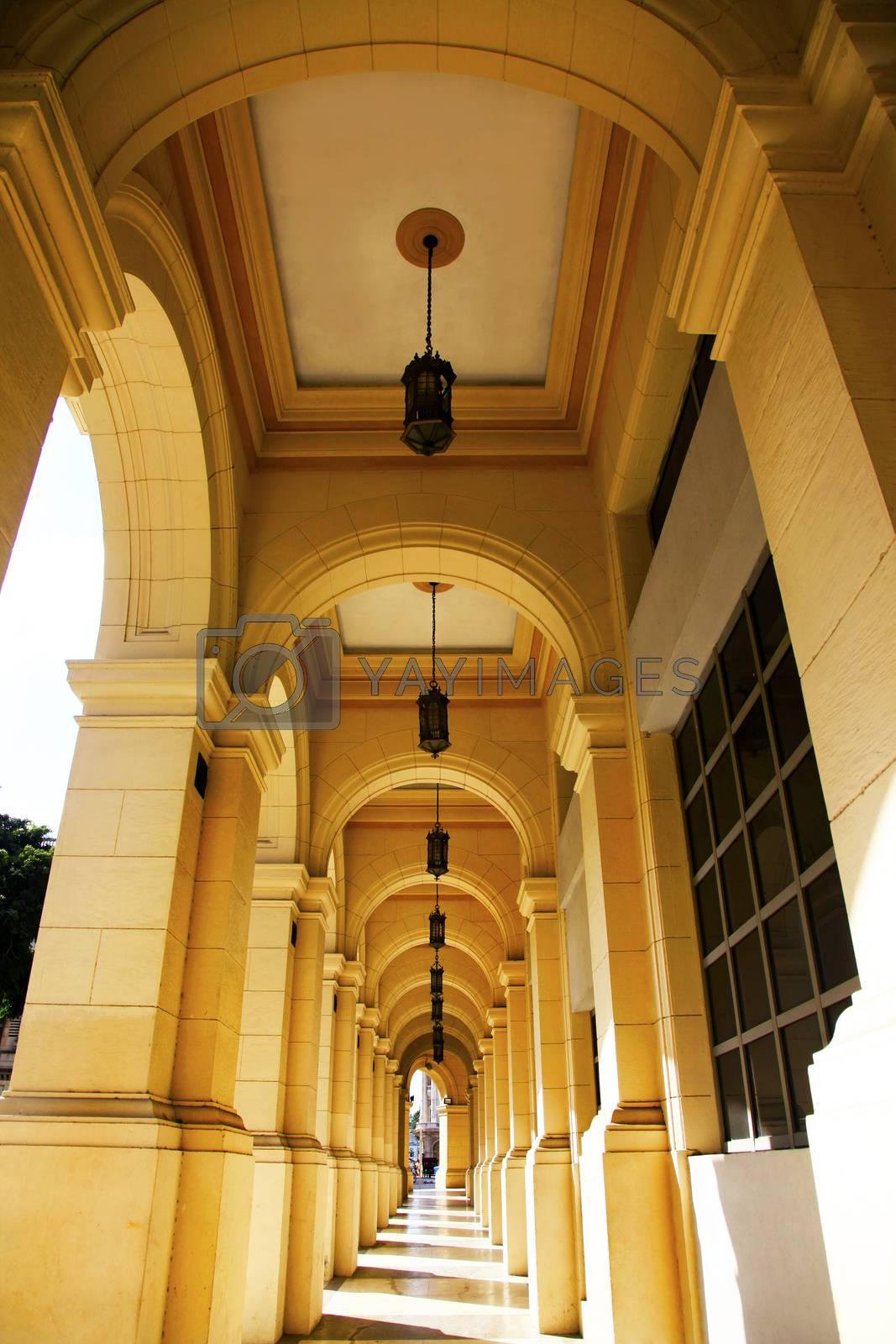 Typical portico under a colonial building in Cuba