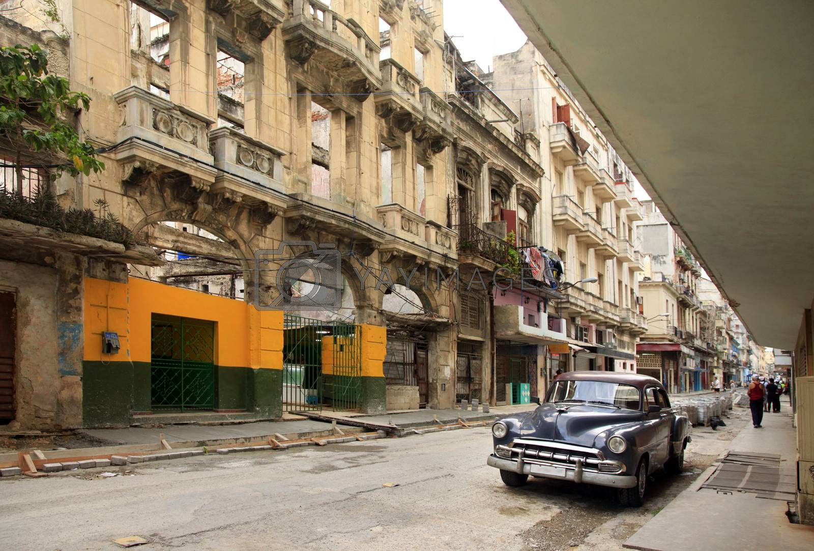 Royalty free image of Vintage classic oldtimer car in old town of Havana by friday