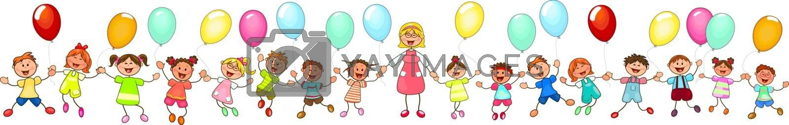 Joyful little children and a teacher. A group of happy, smiling children with balloons. A group of children with a teacher on a walk. Group of cheerful, smiling children on a white background. Cartoon joyful children.